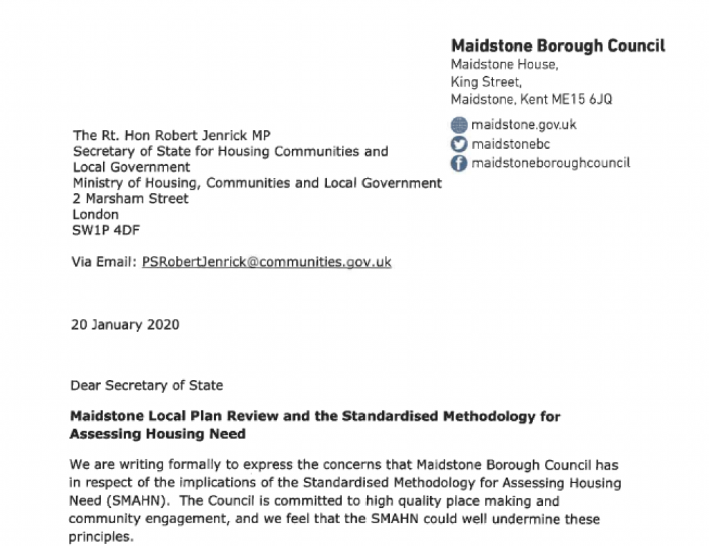Letter to Secretary of State about increased housing numbers