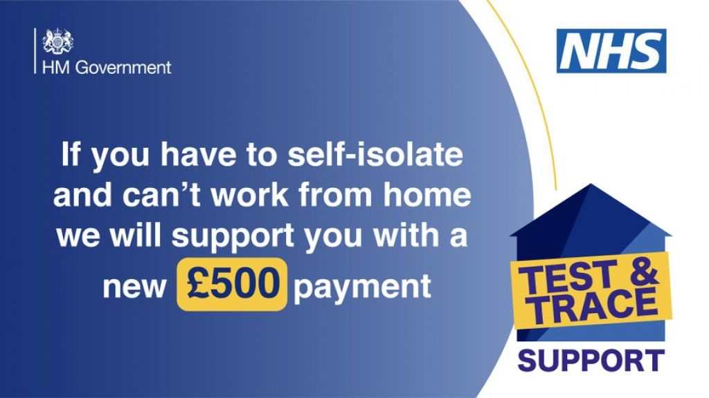 Apply for a £500 Test and Trace Support Payment