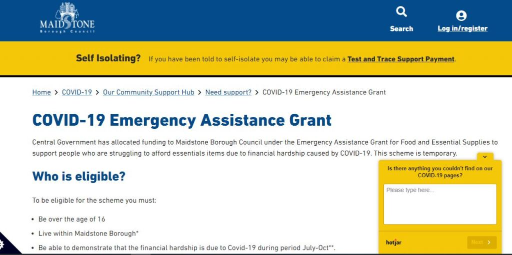 Government grant of up to £500 for food or essentials