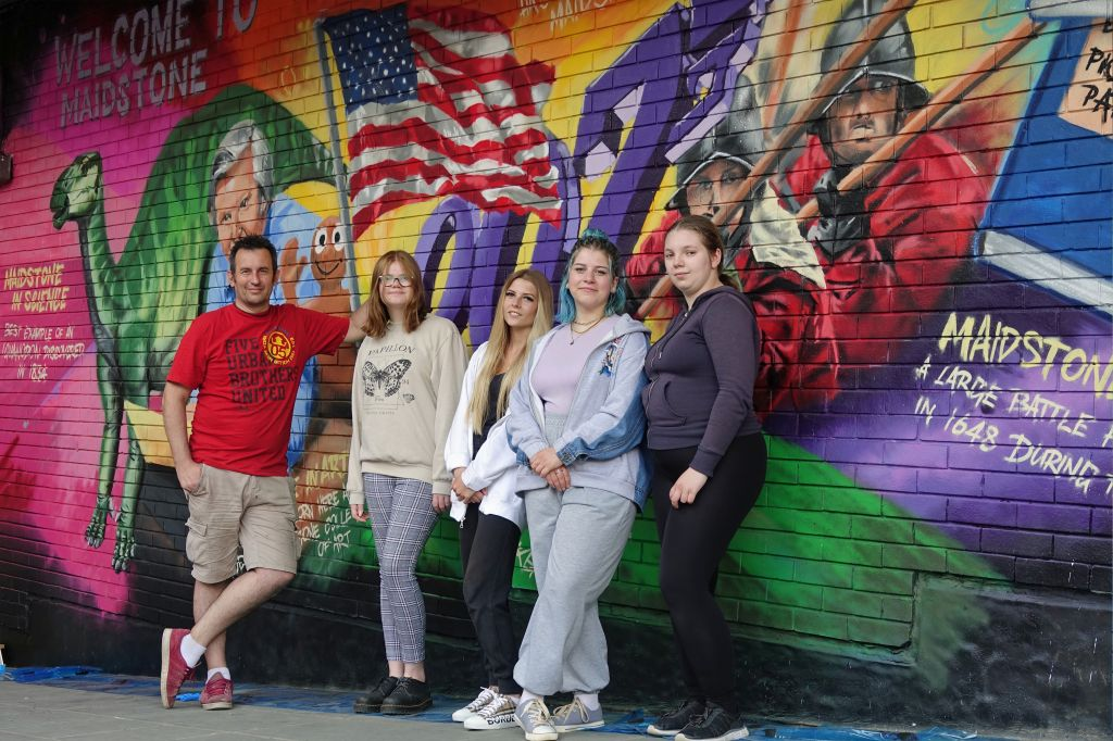Local young people help create mural at Maidstone Bus Station  image