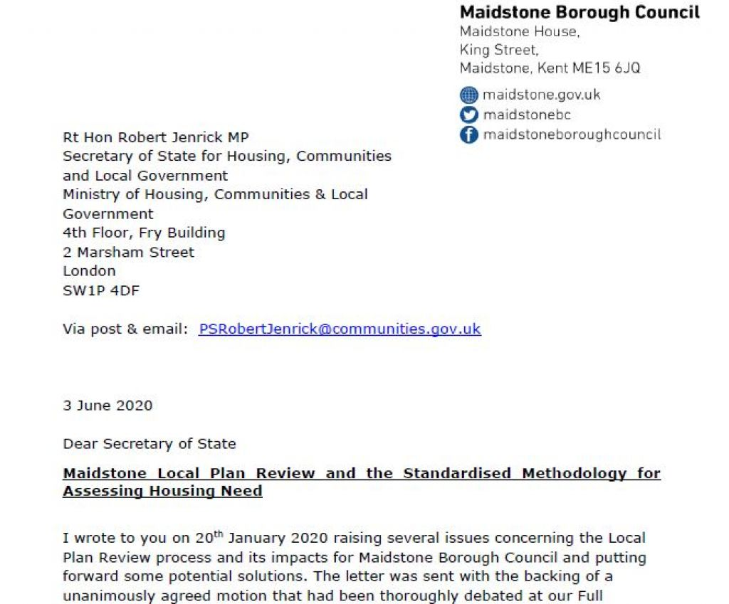 Further letter to Secretary of State about housebuilding targets